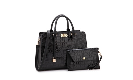 MMK collection Luxury Croco vegan leather Satchel handbag with Wristlet(10-7581)