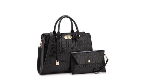 MMK collection Luxury Croco vegan leather Satchel handbag with Wristlet(10-7581)