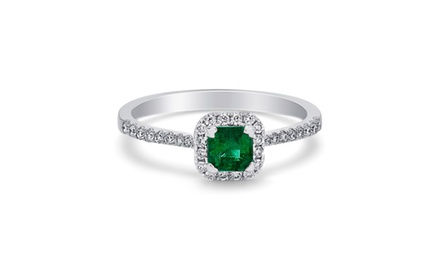 18k Diamond and Green Emerald Fashion Ring ( 1/2 ct tw)