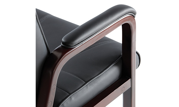 Alera Madaris Series Leather Guest Chair W/Wood Trim, Black/Mahogany