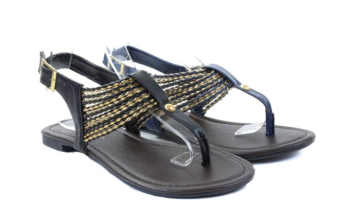 Faux Leather Braided T-strap Flat Sandals Black or Blue