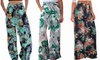 Women's Casual Belted Beach High Waist Wide Leg Pants with Pockets Floral