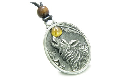 Amulet Howling Wolf Moon Gemstone Oval Shape Fine Pewter Lucky Charm Pendant Necklace