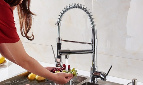 iMounTEK Kitchen Sink Faucet, Single Handle, Spring Pulldown Head, Chrome Plated
