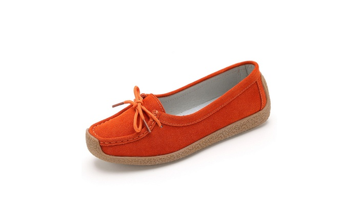 Women's Suede Leather Lace-up Slip-ons Loafers