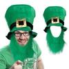 St. Patty's Day Leprechaun Top Hat & Beard Costume Lucky Irish Green