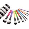 10Pcs Zebra Striped Handle Cosmetics Makeup Brush Set  Makeup Tool