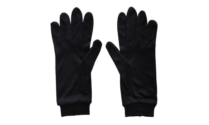 Andevan 100% Silk Glove Liner For Cold Weather Unisex Black