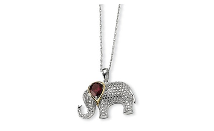 IceCarats Designer Jewelry Sterling Silver & 14K Garnet and Diamond Elephant Necklace