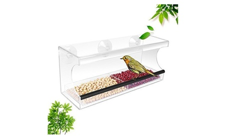 Garden Acrylic Window Bird Feeder with Strong Suction Cups (Goods Pet Supplies Bird Supplies) photo