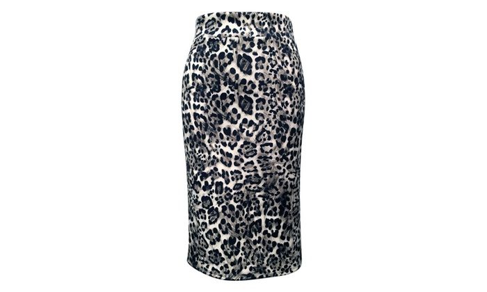 My Belle Womens Elastic Waist Band Techno Stretchy Fabric Pencil Skirt