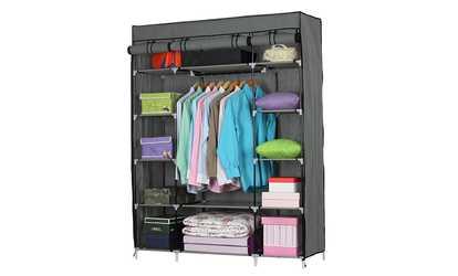 Shop Groupon 5 Layer 12 Compartment Non Woven Fabric Wardrobe Portable  Closet