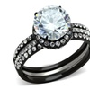 Women 3.45 Ct Halo Round Cut Cz Black Stainless Steel Wedding Ring Set