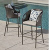Dunlevy Wicker Bar Stool Set with Light Brown Cushions (2- or 4-Piece)