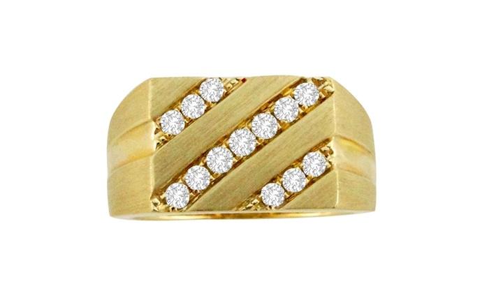 59b5e6d3fedb5 1/2ct 3 Row Round Diamond 10k Yellow Gold Mens Ring Band 10.3 gram ...