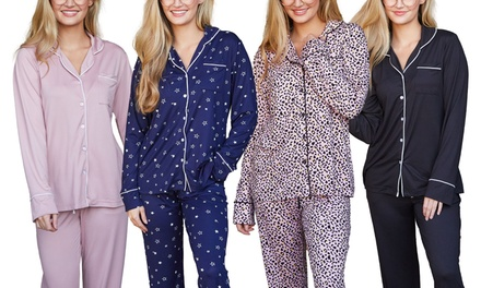 Doublju Women's Long Sleeve Button Down Pajama Sleepwear (2 pcs Set) Was: $49.99 Now: $17.99.
