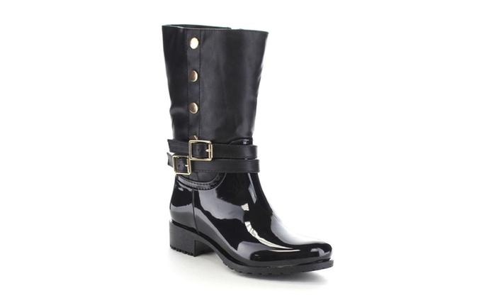 Beston CA33 Children Girl's Double Buckle Two Tone Knee High Rain Boot