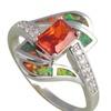 925 Sterling Silver Orange Zirconia Design Fire Opal  Ring