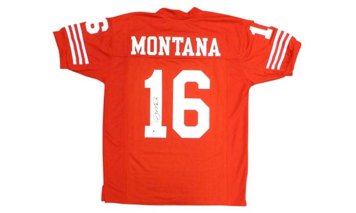 f80341b31e4 Autographed Joe Montana San Francisco 49ers Red Custom Jersey