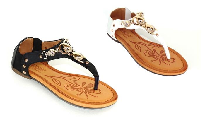 Belicia-1 Women's Stud Ankle T-Strap Rhinestones Gladiator Flat Sandal
