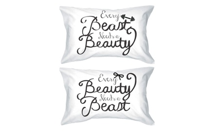 His and Hers Romantic Pillowcases 300-Thread-Count Standard Size 21 x 30 - Every Beauty Needs a Beast Matching Pillow Covers for Couples - Romantic Gift Ideas