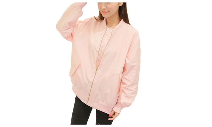 DPN Women's Relaxed Fit Zipper Stand Collar Long Sleeve Jacket - PINK