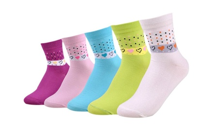 Womens Multicolor Cotton Socks with Heart Print, 5-Pairs Mix Pack