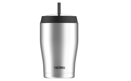 Thermos 22 Ounce Vacuum Insulated Cold Cup with Straw, Stainless Steel 95218514-7661-44fb-bdab-49ef2d231876