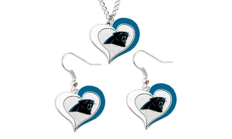 Carolina Panthers Swirl Heart Necklace & Earring Set NFL Charm Gift c339763b-3424-4d4c-9479-83f0f9226c3f