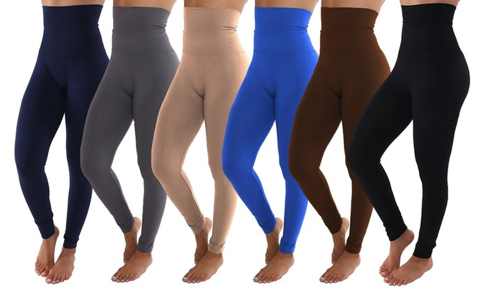 4569c578397 Women s High-Waisted Plus Size Leggings (6-Pack) High Waist One Size Fits  12-20 Black Brown Beige Blue Grey Navy