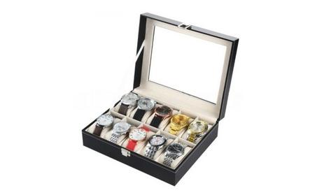 Glass Top Leather Watch Storage Case 4a93353d-8919-454f-a966-58e56fe9b5e0