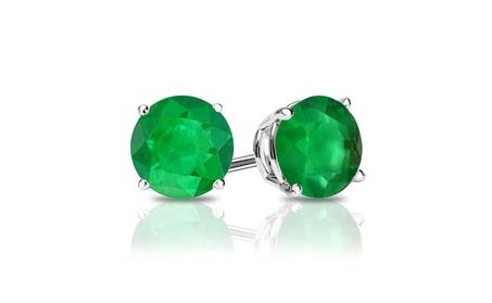 14k White Gold Round Lab-Created Emerald Gemstone Stud Earrings e52cc6a9-2937-4e31-bc76-2e81334aac94