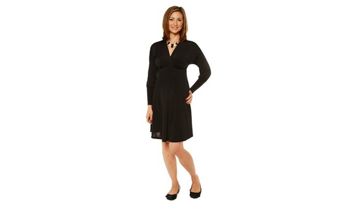 24/7 Comfort Apparel Women's Long Sleeve knee length Empire Dress