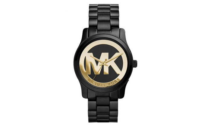 019743b01134 Michael Kors Women s Runway Black Logo Watch MK6057