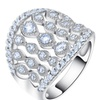 Fashion Hollow Clear Cubic Zircon Paved Luxury Ring