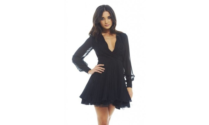 AX Paris Self Colo Lace Kick Out Net Pleat Dress
