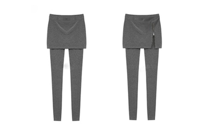 Three Pairs of Warm Zip Skirt Leggings (Black + Grey + Light Grey)