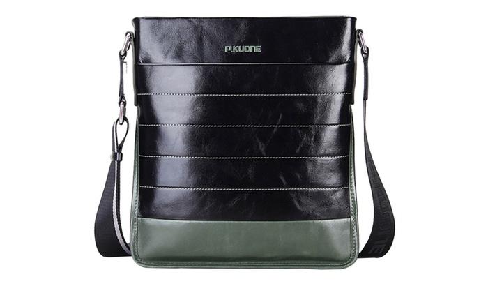 Shefetch Men's Casual Cowhide Leather Fashion Crossbody Bag - Black
