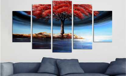 Art deals coupons groupon shop groupon large multi panel hand painted paintings and gallery wrapped canvas gumiabroncs Choice Image
