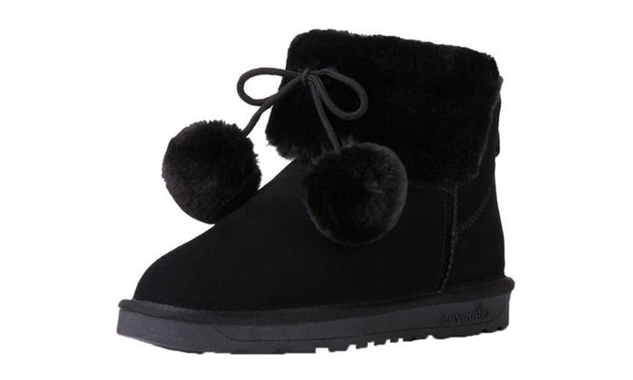 DPN Women's Leather Autumn Snow Boots