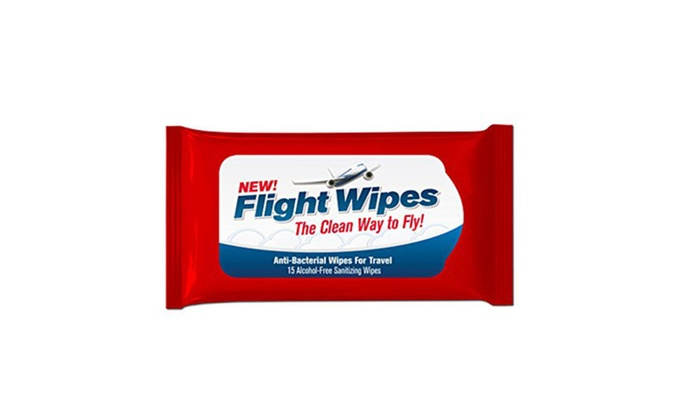 Buy It Now : Flight Wipes, Anti-Bacterial Wipes for Travel Way to Fly - Pack of 6