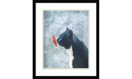 Fab Funky 'Black Cat Sniffing Flower' Framed Art Print 16 x 19-in 9bcdb544-3836-4d62-9377-272b6c5234dd