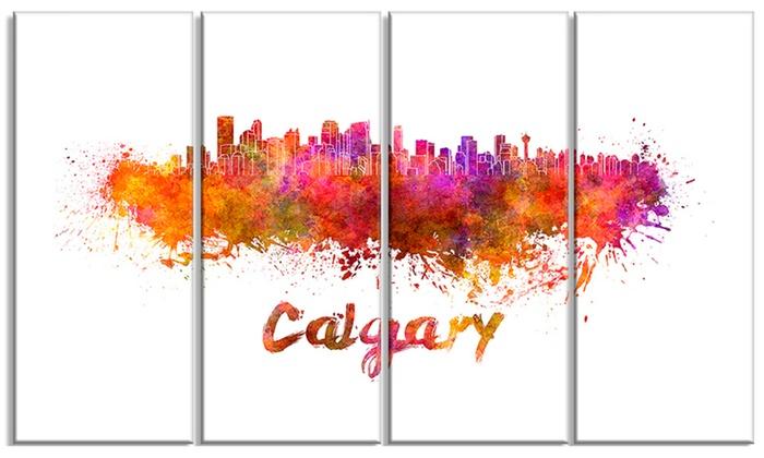 Calgary Skyline - Cityscape Glossy Aluminium Art artwork | Groupon