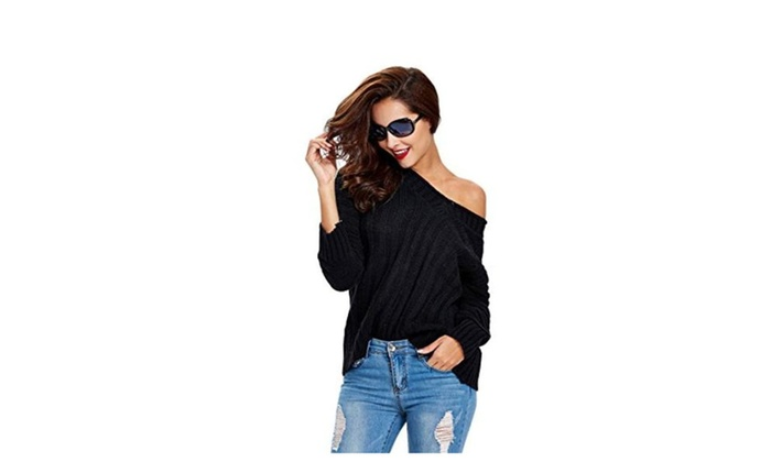 Women's V Neck Long Sleeve Knit Top Loose Cotton Sweater