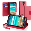 Insten Pink Slim PU Leather Card Holder Wallet Stand Cover For LG G3