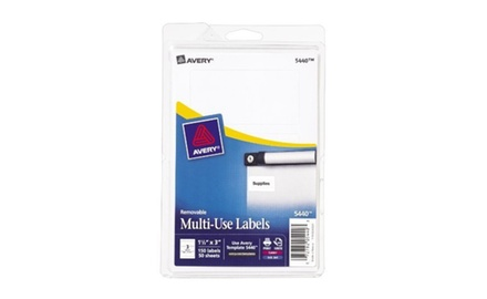 Avery Avery Removable Print or Write Labels, 1.5 x 3 Inches, White, Pack of 150 (5440)