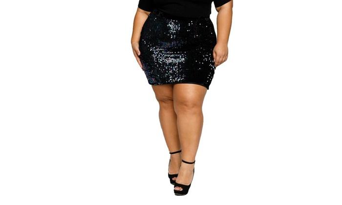 4bdc9e73c2d2 Xehar Women's Plus Size Sparkling Sequin Front Velvet Back Short Mini Skirt