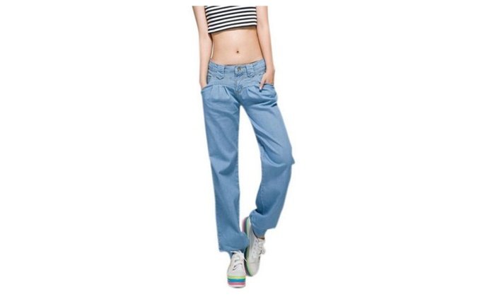 Women's Wide Leg Pants Loose Trousers Casual Pants Fold Jeans