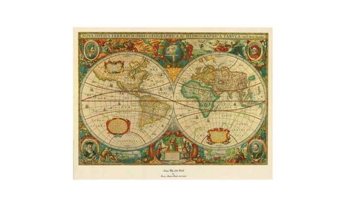 Old World Map Painting Extra Large Artwork Groupon - Large world map painting