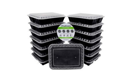 Freshware 15-Pack Lunch Box Food Container with 3-Compartments, 36 oz 7591b26d-0ef7-4db3-9b79-477c21ee302c